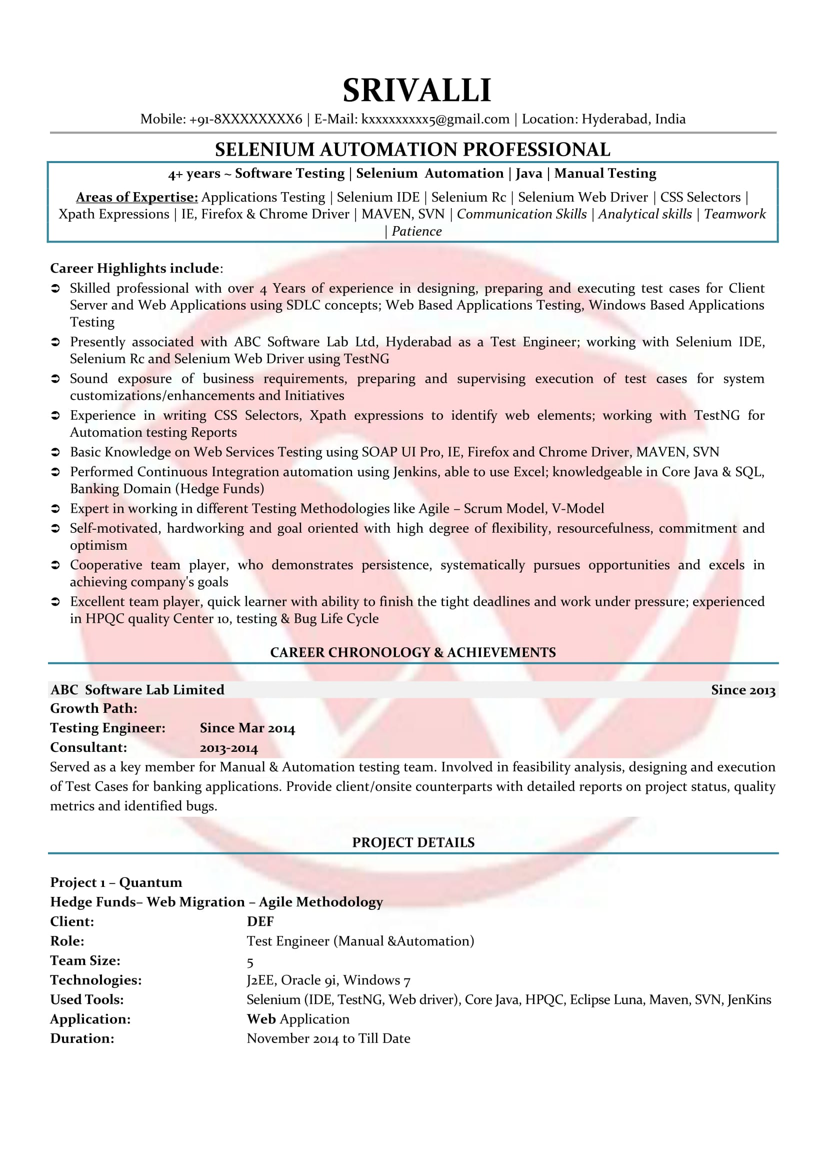selenium sample resume