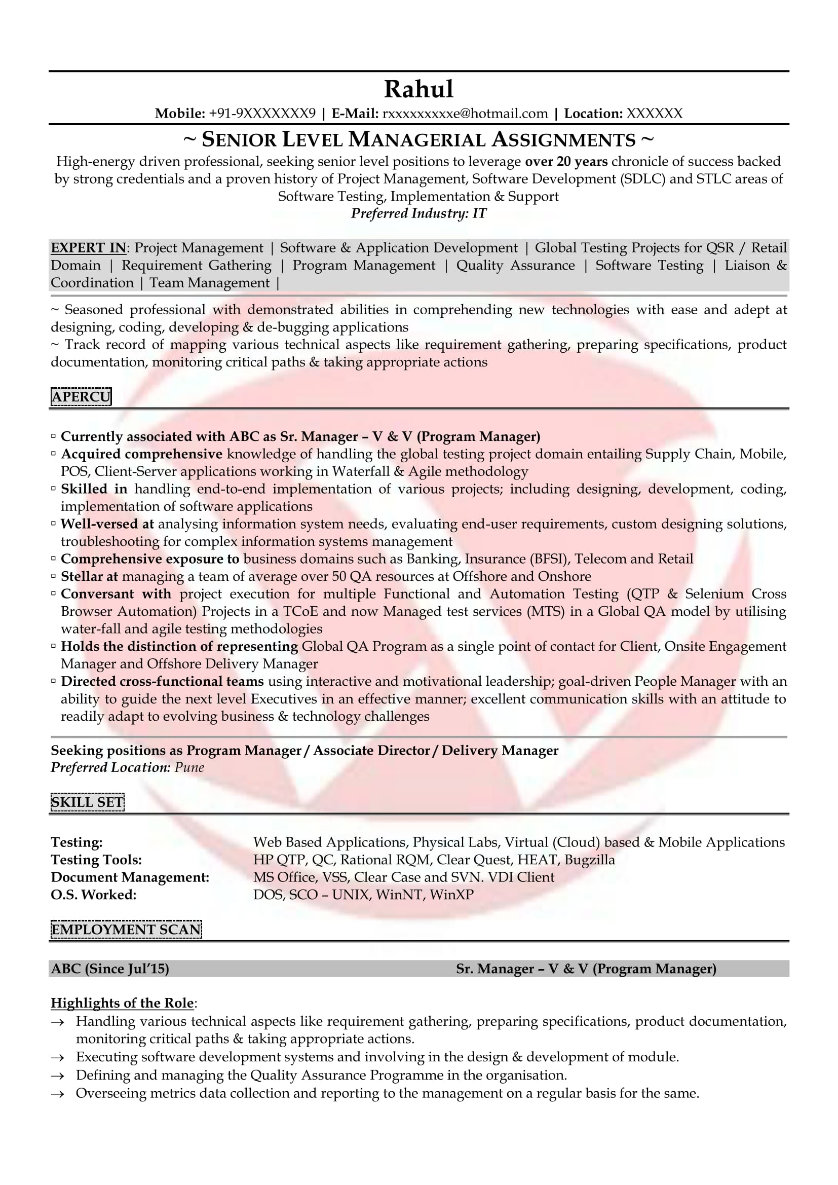 Software Testing Sample Resume