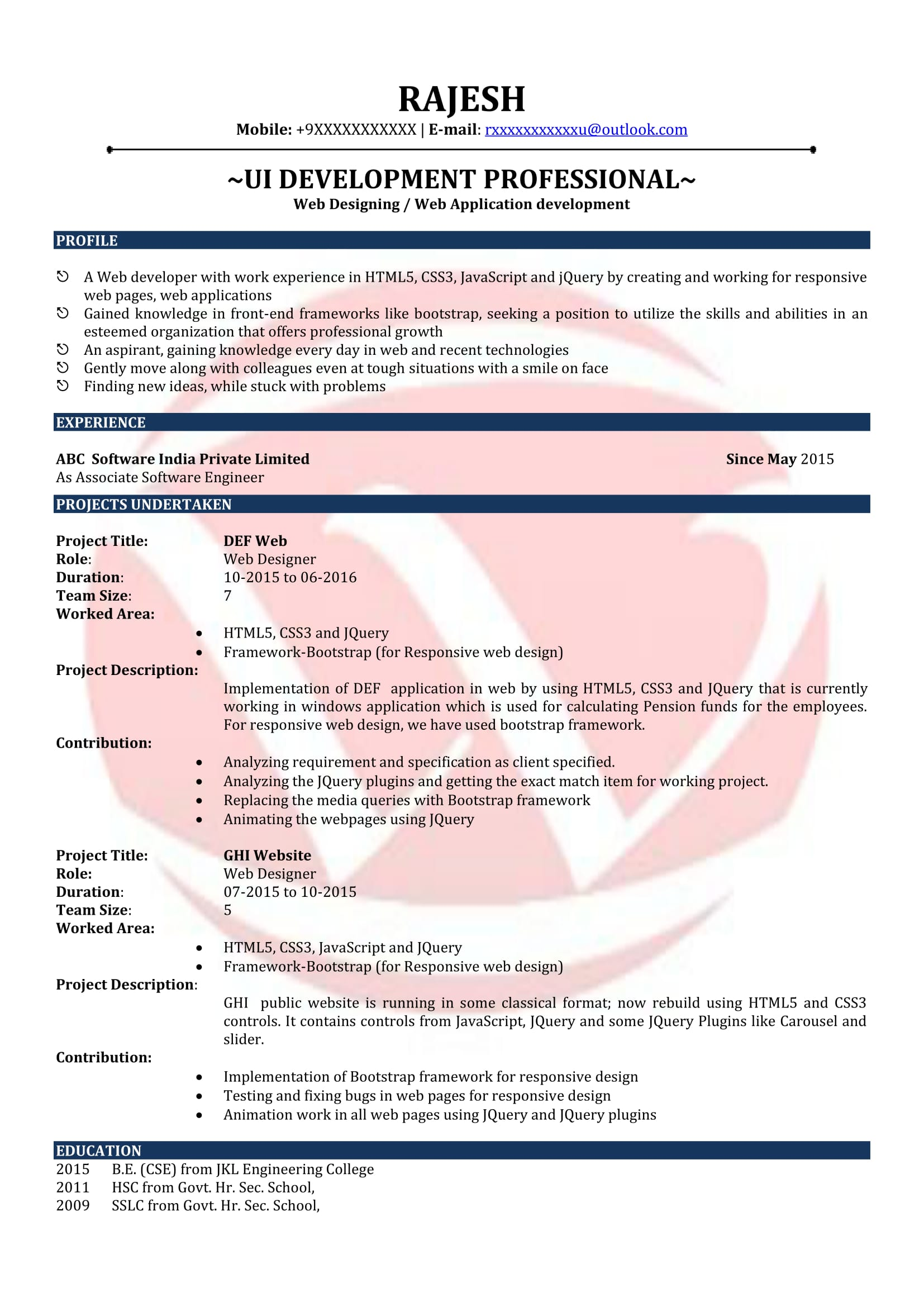 Web Designer Sample Resume
