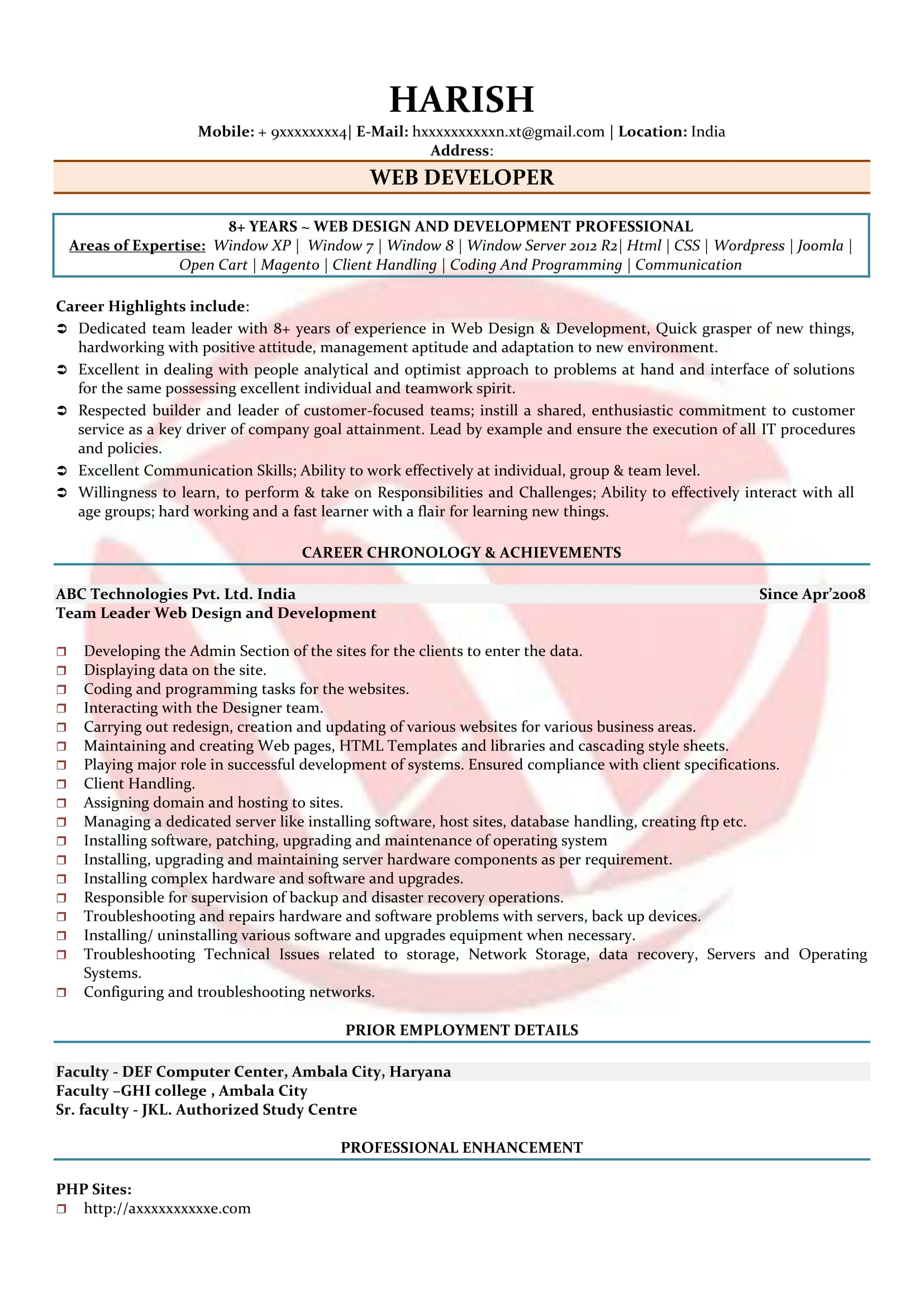 Web Developer Sample Resumes, Download Resume Format Templates!