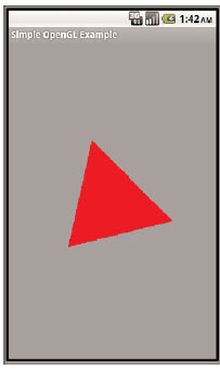 A red triangle rendered using OpenGL ES on the Android emulator
