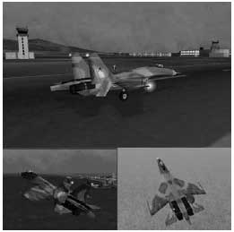 A screen shot collage from X-Plane