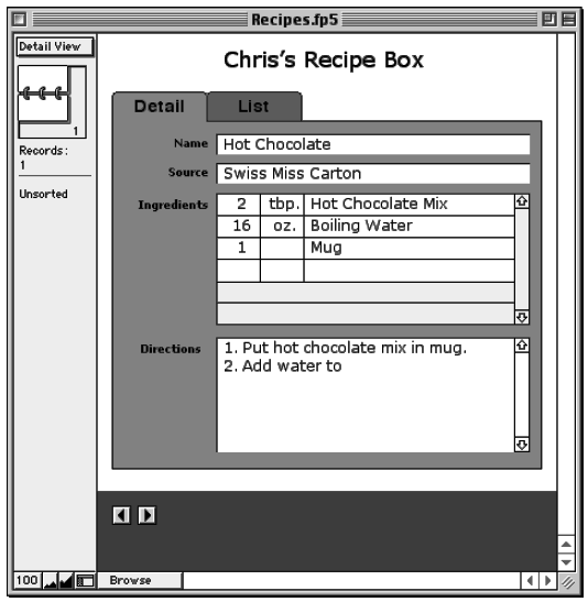 A simple recipe box database