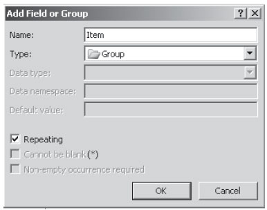 Add Field or Group