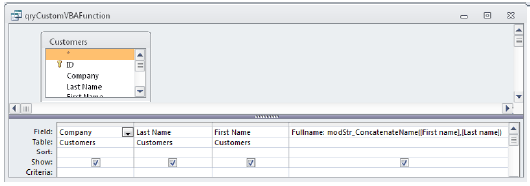 Adding a call to a custom VBA function on the Query grid.