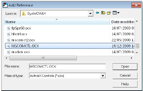 Adding the OCX file to create the entry in the references when you do not already have the reference on a 64-bit operating system.