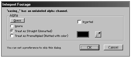 After Effects automatically detects the presence of an alpha channel in imported file(s)
