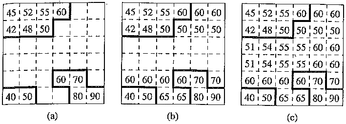 An example of repetitive padding in a boundary macroblock of a reference VOP