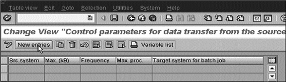 Change view control parameters for data transfer
