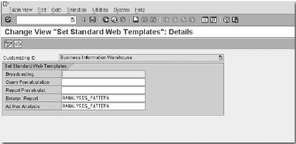 Change view set standard web templates details
