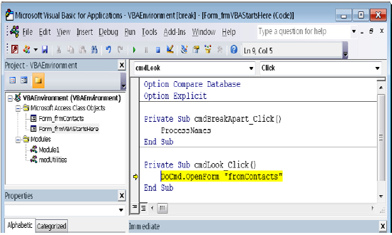 Choosing Debug opens the VBA Editor and highlights the program code line that generated the error.