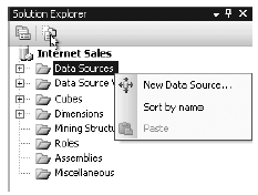 Choosing to create a new data source