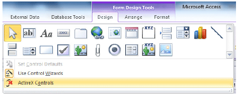 Click ActiveX Controls on the Design tab to add an ActiveX control to a form.