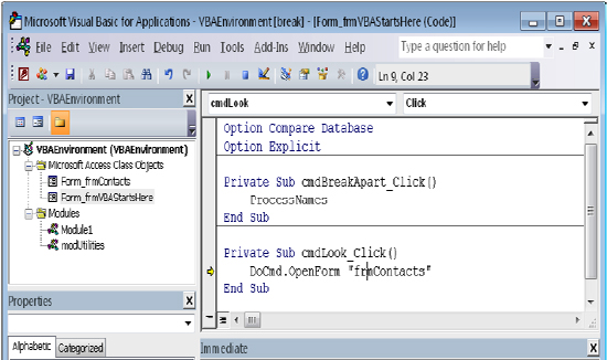 Debugging Code on a Form in MS Access Tutorial 11 September