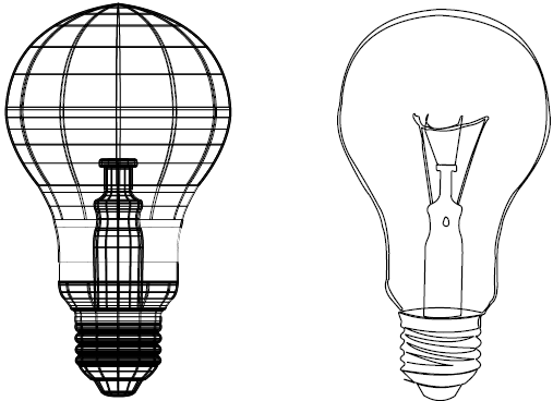 Compare the original artwork of the light bulb (A) to the simplified version drawn in Flash (B).