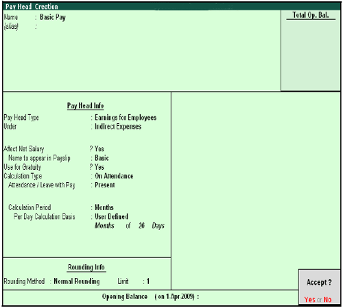 Completed Basic Pay Head Creation screen