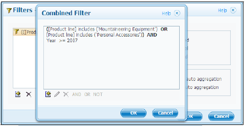 Complex filtering expression created using Combined Filter feature