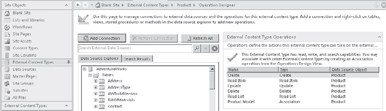 Create an Associated External Content Type