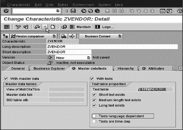Create Characterstic ZVEndor: Detail