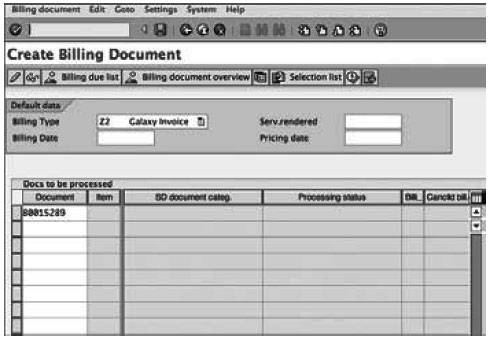 Creating a Billing Document