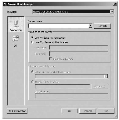 Creating a new data connection