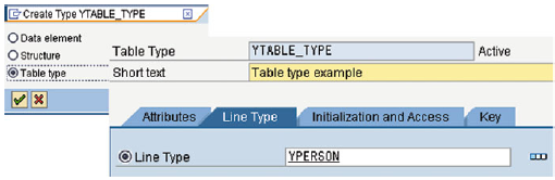 Creating a table type