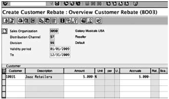Creating condition records in a rebate agreement