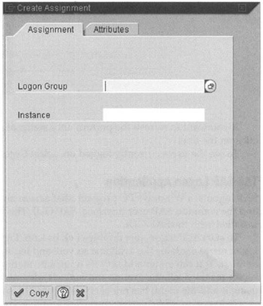 Creating entry dialog box for logon groups (Copyright by SAP AG)