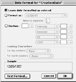 Date Format dialog for the CreationDate