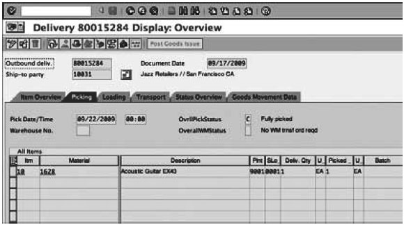 Delivery Overview screen