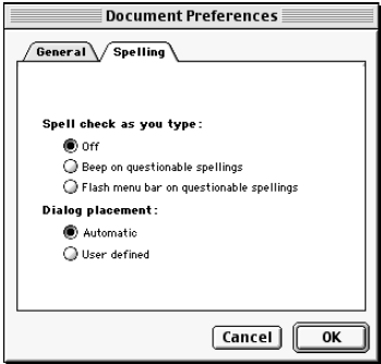 Document Preferences — Spelling.