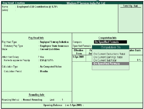 Employee's ESI Pay Head creation screen - Compute On Selection