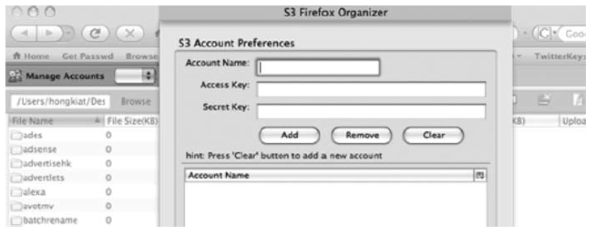 Entering S3 Credentials into the S3Fox Organizer.