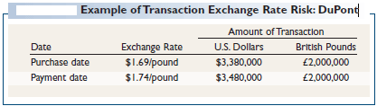 Example of Transaction Exchange Rate Risk: DuPont