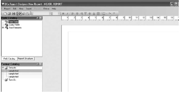 Example using the functionality of the report designer