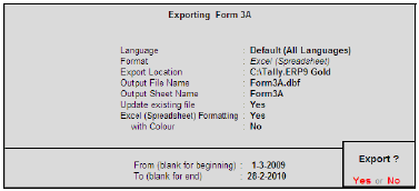 Exporting Form 3A in dbf format