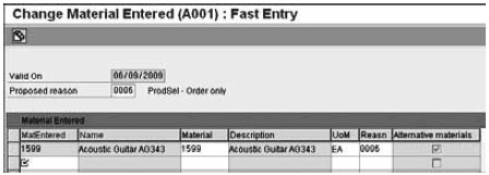 Fast Entry screen for maintaining a material determination record