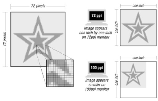 Figure: The size of an image is dependent on monitor resolution