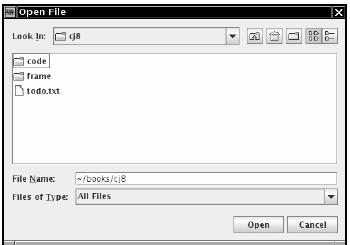 File chooser dialog box