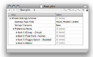 Formatted contents of the Root.plist file