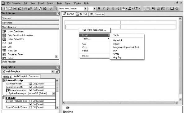 Formatting with web template layouts format