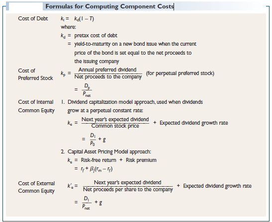 Formulas for Computing Component Costs
