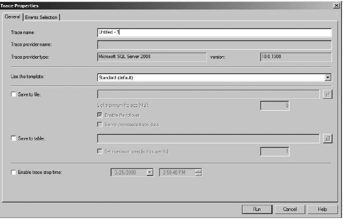 General tab of the Trace Properties dialog box