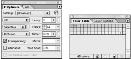 ImageReady's Optimize options (left) and Color Table palette (right)