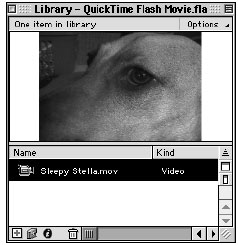 Imported QuickTime movies have a movie camera icon