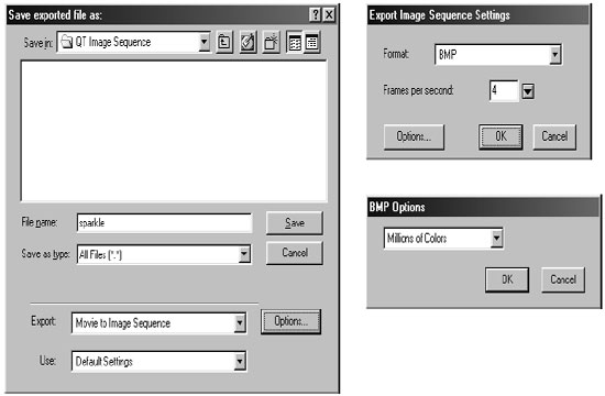 In the Save Exported File As dialog, choose Movie to Image Sequence as the Export type.