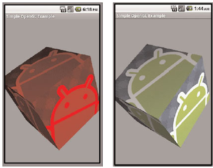 (Left) A red colored cube with texture and (right) the same cube without red coloring