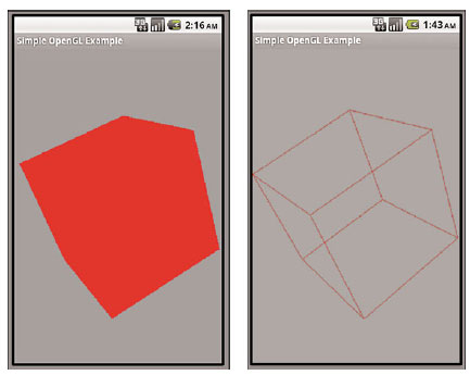 (Left) A solid cube with no shading and (right) the same cube with only lines