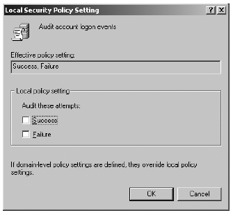 Local security policy setting