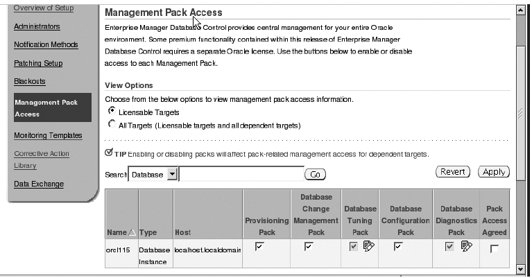 Management Pack Access page in Database Control